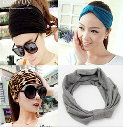 Wholesale Biker Hats - Womens Elastic Super Wide Stretch Headbands Hat Jogging Biker Sport Yoga Headband Solid Bandana hijab Turban Mix Color Free Shipping WHA71