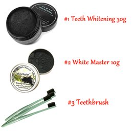 Weiße zahnaufhellung online-2017 Hot Newest All Natural and Organic Activated Charcoal Teeth Cleaning Tooth and Gum Powder + toothbrush set Total teeth Whites 30g