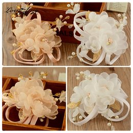 Wholesale Champagne Brides Jewelry - champagne white flower headband bridal hair accessories wedding jewelry for brides headbands 178