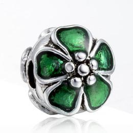 Flor de metal cuentas de esmalte online-¡Nuevo! 925 Sterling Silver Bead Clip Green Enamel Flower Corchete Europea Charms Perlas de plata para la pulsera de la cadena de la serpiente DIY joyería