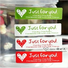 """Wholesale Homemade Gift Packaging - """"Just for You"""" long adhesive seals stickers labels homemade DIY tags for cookie cake gift packaging decoration"""