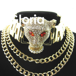 Wholesale Head Necklaces - Wholesale-2015 Luxury Retro Crystal Leopard head necklace Chain Necklace Jewelry Statement Necklace Women Jewelry High Quality Wholesale
