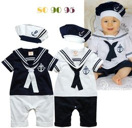 Wholesale white baby bodysuits wholesale - 6Set Summer Newborn Navy Style Baby Boys Girls Rompers + Hat 2Pcs Set Kid's Short-Sleeve Sailor Bodysuits Children Jumpsuit Clothing Suit