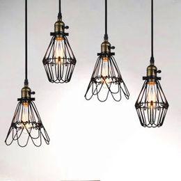 Wholesale Vintage Bird Lamp - Vintage Bird Cage Decoration Pendant Lamp Black Twisted Cable Unique American Style With Edison Bulbs E26 4W 6W 8W ST64 Filament Light