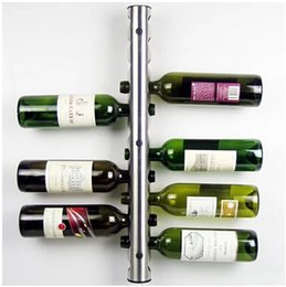 Wholesale Wine Wall Holder - Free shipping Stainless Steel Bar Wine Rack Wine Shelf Wall Mounted Holder 12 Bottles