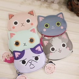 Wholesale Girls Banks - Wholesale- YIYOHI 2017 High Quality Cute Cotton Leather Cat & Fish Zipper Change Mini Wallet Girls Small Wallet Coin Bank Case Key Chain
