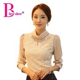 Wholesale Korean Office Blouses - New 2016 Spring Women Shirts Blouses Korean Office Style Fashion Elegant Turtleneck Chiffon Long Sleeve Lace Roupas Femininas