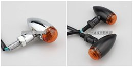 Wholesale Motorcycle Steering Light - Blitz motorcycle steering lamp gold Aluminum Alloy, bullet, chopper cafe lights