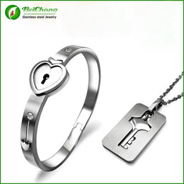 Wholesale Lock Key Couples Jewelry - BC Jewelry 2015 Fashion Popular Men Women's Stainless Steel Heart Key + Lock Sets Lovers Couples Bracelet BC-0041