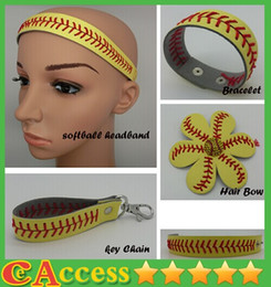 Wholesale Leather Bow Bracelets Wholesale - 25pcs softball seam headband+25pcs softball seam hair bow+25pcs softball seam keychain+25pcs softball seam bracelet