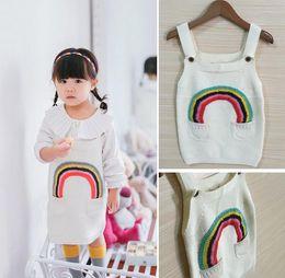 Wholesale Girls Overalls Skirt Children - Spring Autumn Girls Knitted Dress Kids Rainbow Sweater Dress Baby Child Suspender Skirt Overalls Children Knitwears Dresses White 11280