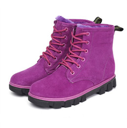 Wholesale Purple Western Boots - High Quality Martin Boots Winter Keep Warm Shoes Women's Flat Boots Women's Snow Boots Student Cotton Shoes Leather Shoes4.5-9