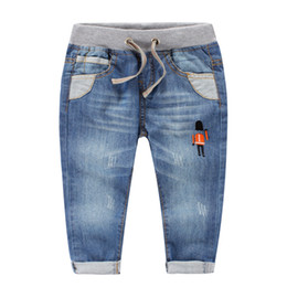 Wholesale Wholesale Color Jeans - 2016 NEW spring Boys jeans 100%cotton washed white embroidery soldier Soft jean pants Children kids jeans Comfort quality distribute