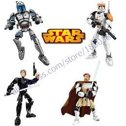 Wholesale Super Heros Action Figures Set - Wholesale-New Star Wars 7 Super Heros Luke Skywalker Jeti Warriors Jango Fett sets Minifigure Building Blocks Toys Action Figure For Gift