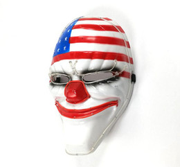 Wholesale Rave Halloween Costumes - LED Glow Creepy Clown American Flag Mask, Halloween Rave Costume Party Men's Glowing Mask