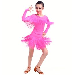 Wholesale Wholesale Ballroom Dance Dresses - 4pcs lot Lovely Solid Color Tassels Round Neck Dancing Dress Long Sleeves Slims Dancing Dresses Girls Latin Ballroom Clothing tls308
