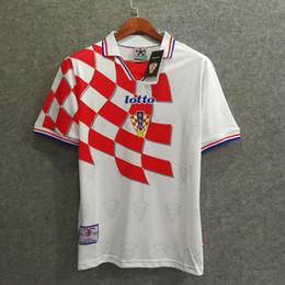 aa279f1889e     Wholesale 1998 Croatian home retro soccer jersey custom 3D Velvet font  name number suker football shirts top AAA quality soccer clo