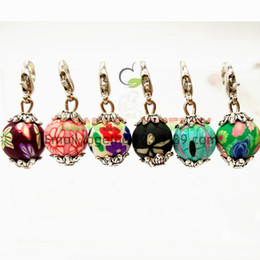 Wholesale Colour Necklace - Silver Dangle Charms lobster clasp Coloured drawing or pattern ball pendants DIY Findings For floating locket Bracelet necklace,best gifts