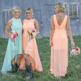 Wholesale Mint Coral Bridesmaid Dresses - 2017 Mint Orange High-low Cheap Bridesmaid Dresses under $70 Chiffon Maid of Honor Dresses A-Line Crew Appliques Pleated Short Party Dresses