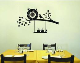 décorations d'autocollants d'oiseaux Promotion 99 * 60 cm Black Bird sur la branche DIY Horloge Murale Stickers Cartoon Sticker Mural Décoration de la Maison Livraison Gratuite