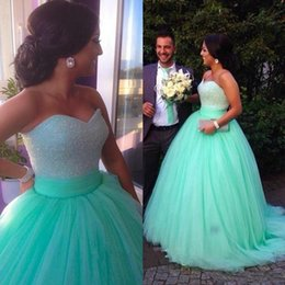 Wholesale Prom Dress Tulles Ball Gown - Elegant Mint Green Princess Prom Ball Gowns Sweetheart Beading Pearls Sexy Evening Gowns Puffy Romantic Tulles Backless Pageant Dress