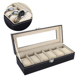 Wholesale Square Storage Case - 2015 Watch Box Black 6 Grid Leather Watch Box Jewelry Display Case Watch Storage Organizer Box Holder 00628
