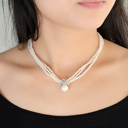 Wholesale Three Pearl Pendant - White Pearl Choker Necklace Classic Three Layers Beads Chain Graceful Necklaces Colares Femininos For Elegant Women