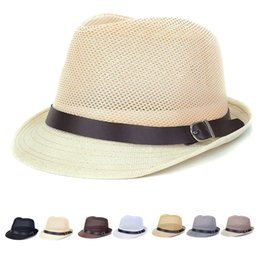 Wholesale Hollow Out Jazz Hat - Wholesale-Mesh Hollow Out Fedoras Hats Straw hats For Women Men Panama Fedora Summer Style Beach Sun Jazz Mens Hat Belt Buckle Caps