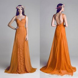 Wholesale Cheap Bridesmaids Jackets - 2015 Orange Backless Lace Chiffon Spaghetti Formal Evening Dresses Long Party Celebrity Prom Gowns 2015 Cheap Free Shipping bridesmaid dress