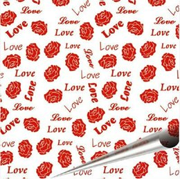 Wholesale Edible Chocolates - Valentine Red Rose Love Pattern Chocolate Transfer Sheets Edible Paper- 10 Sheets Per Pack