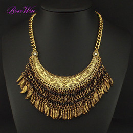 Wholesale Vintage Gold Tassel Necklace - New Boho Statement Jewelry Fashion Vintage Chokers Necklaces Resin Bead leaf Tassel Pendant For Women Accessories CE3451