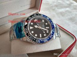 Wholesale Swiss Eta Watches - Top Quality AAA Luxury Swiss eta movement GMT II Black & Blue Ceramic Bezel 116710LN 116710 Automatic Mens Watch Men's Watches