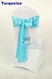 Wholesale Satin Chairs Sashes - 100pcs Turquoise Color Satin Chair Sash \ Chair Bow Used For Wedding Chair Cover