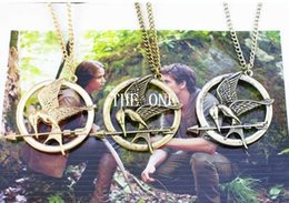 Wholesale Hunger Games Pendant - the hunger games bird necklace hunger games mockingjay and arrow pendant necklace the hunger games necklace metal katniss necklace in stock