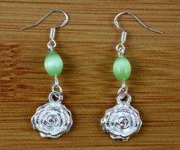 Wholesale Ear Hook Flower - 100 Pair Plated Silver Rose Flower &Opal Bead Dangle Earrings 925 Silver Fish Ear Hook Chandelier Earrings Jewelry Gift Accessories N1687