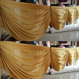 Wholesale Skirt For Table - Gold ice silk curtain swags for backdrop 6 meter long table skirt for wedding party event decoration supplier
