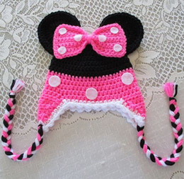 Wholesale Polka Dot Christmas - Christmas Crochet Minnie Mickey Baby Girls Polka Dot Bow Knitted Caps Winter Infant Toddler Cartoon Hat Newborn Kids Children Beanie Cotton