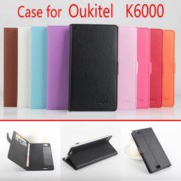 Wholesale Litchi Stria Leather Case - 2016 New Litchi Stria Original Case For Oukitel K6000 Smartphone Fashion Case For Oukitel k6000 Left-Right 9 Colorful Optional