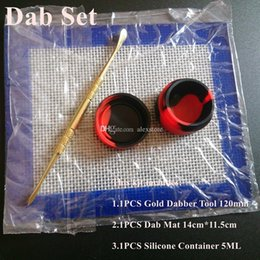 Wholesale Waxed Sheets - Silicone Wax Kit Set with 14cm*11.5cm square sheets pads mats 5ml silicon container long gold dabber tool for dry herb jars dab