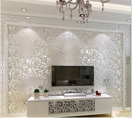 Wholesale Stickers Paper Roll - 3d European waterproof living room wallpaper ,bedroom sofa tv backgroumd of wall paper roll silver color wall sticker