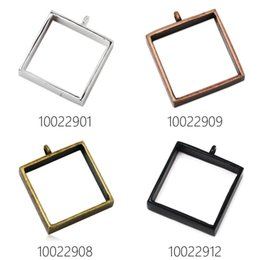 Wholesale Resin Bezels - 25x25mm square open back bezel pendant,bezels for resin,pressed flower jewelry,sold by 10pcs pkg-100229