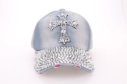Wholesale Fancy Rhinestones - Quality Rhinestone Bling Cross Hats Washed Denim Adjustable Baseball Caps Fancy Curved Hat Adults Womens Summer Designer Skull Caps