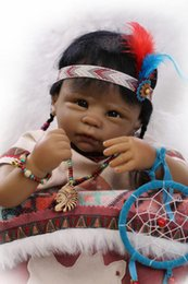 """Wholesale Native Dolls - 22""""VERY CUTE Very popular&rare Native American Indian reborn baby doll Magnetic pacifier"""