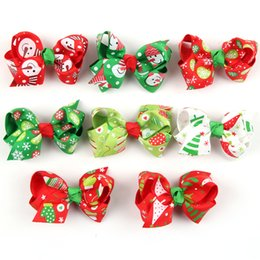 Wholesale Baby Girl Santa - Christmas Hair bow clips 8 colors Baby Girl 2015 New Year hairbows with clips Santa Redeer 40pcs lot