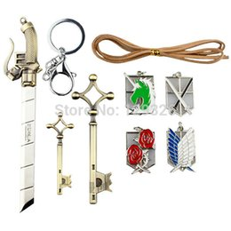 Wholesale Swords Costumes - Wholesale-9pcs  Set Attack on Titan Cosplay Costume Emblems, Keychains, Key Necklace and Sword ,Jewelry Set,Shingeki no Kyojin Set