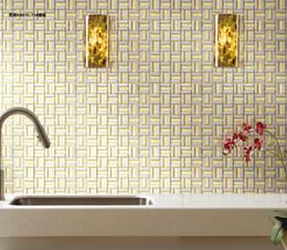 Malla de azulejos de mosaico online-Azulejo de mosaico de metal montado en la pared azulejo de mosaico de vidrio mallas de mosaico mezclado revestimiento de azulejos azulejos