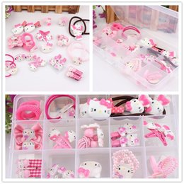 Wholesale Rubber Band Bracelet Hair Rope - Hair Accessories Sets Hello Kitty Cat Bracelet Hairpin Hair Clip Ring Head Hair Rubber Rope Bands Girls Children Kid Birthday Christmas Gift
