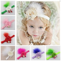 Wholesale Rosette Headband Feather - baby rolled rosette flowers hair accessories christmas headbands for girls kids feather pearls head bands ribbon elastic hairband roses top