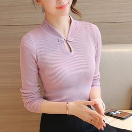 Wholesale Long Slim Cheongsam - Wholesale- women Stand collar tight sweater female pullover autumn long-sleeve slim elastic basic shirt solid color vintage cheongsam tops