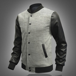 Wholesale Mens Leather Baseball Jackets - Fall-M-2XL Hot 2016 Fashion New Casual Baseball Jacket With Leather Sleeves Mens Varsity Jackets And Coats Harajuku Chaqueta Hombre